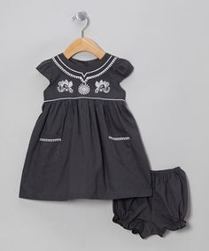 Take a look at this Charcoal Cap-Sleeve Dress & Bloomers - Infant & Toddler by the Mini Sissy on #zulily today!