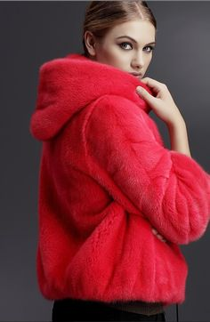 mink fur hoody, dyed red