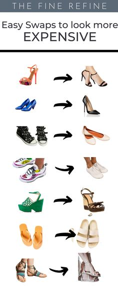 70 easy swaps to upgrade your wardrobe and make it look more elegant and expensive.    Shop Smarter and add items that will add value to your closet.    Learn to dress better at The Fine Refine  #Lookexpensive Neutral Colour Palette, Muted Colors, Bleached Jeans, Beautiful Hair Color, Expensive Jewelry, Basic Tees, Classic Sneakers, Louis Vuitton Neverfull, Nice Dresses