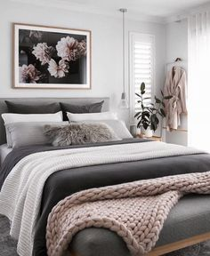 Home Interior Decoration 40 Grey and White Bedroom Ideas.Home Interior Decoration 40 Grey and White Bedroom Ideas Boho Bedroom Decor, Room Ideas Bedroom, Gray Bedroom, Decor Room, Bed Room, Boho Decor, Bedroom Color Schemes, Bedroom Colors, Home Interior