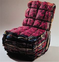 """Tejo Reims, Droog Design.  """"Rag chair"""" made of recycled textiles belted together."""