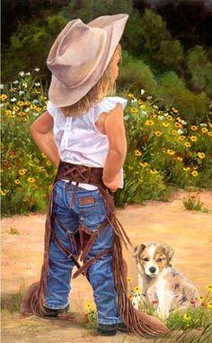 Boss Lady by June Dudley - Little Cowgirl Puppy Dog Little Cowgirl, Cowboy Up, Cowboy And Cowgirl, Toddler Cowgirl, Cowboy Humor, Cowgirl Baby, Cowboy Boots, Danse Country, Cute Kids
