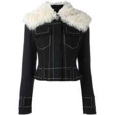 Proenza Schouler shearling collar jacket ($1,040) ❤ liked on Polyvore featuring outerwear, jackets, black, cropped fur jacket, long sleeve jacket, long sleeve crop jacket, snap jacket and proenza schouler jacket