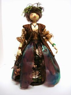"""The Horse Chestnut Collector"" by Charlotte McFarland. Adapted from a Patty Culea pattern, ""The Sewing Caddy"". - Cloth-A-Dollics of Victoria, BC, Canada"