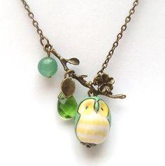 Antiqued Brass Leaf Green Quartz Jade Porcelain Owl Necklace