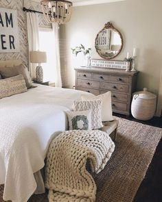 Lots of layers and textured neutrals create this cozy modern farmhouse bedroom. Lots of layers and textured neutrals create this cozy modern farmhouse bedroom. Farmhouse Master Bedroom, Master Bedroom Design, Modern Bedroom, Contemporary Bedroom, Master Suite, Bedroom Small, Kids Bedroom, Minimalist Bedroom, Bedroom Romantic