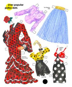 Flamenco, sportswear, Mod and Daisy Mae dots.  Page 1 of 8 Page book. Available for purchase at paperdollreview.com