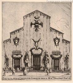 Facciata della Chiesa di San Lorenzo decorata per il funerale di Ferdinado II nel 1670.