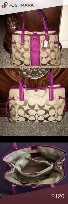 Coach purse Super cute coach purse! In great condition with minor wear, mostly just the cracking at base of purse straps as you can see in the last pic. Coach Bags Shoulder Bags