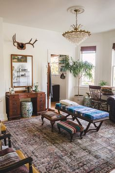 Welcome to Homestead 10 - Pearsall Pendleton Bench, Custom Upholstered Ottomans, Ceramic Garden Stools, Lane Mirror, Art Deco Desk, Farmhouse Desk Chair, Coat Rack, Taxidermy