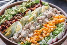 A healthy Cobb salad recipe with chicken and homemade Cobb salad dressing. A healthy Cobb salad recipe with chicken and homemade Cobb salad dressing. Salad Recipes Low Carb, Low Carb Dinner Recipes, Side Dish Recipes, Healthy Recipes, Keto Recipes, Green Salad Recipes, Easy Recipes, Cobb Salad Dressing, Salad Dressing Recipes