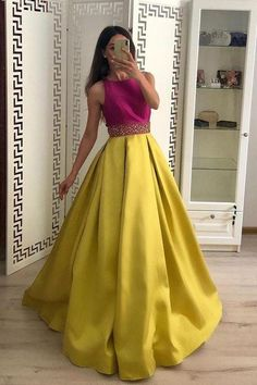 Stunning A Line Satin Yellow Beaded Sleeveless Long Prom Dresses · lass · Online Store Powered by Long Sleeve Gold Prom Dresses,Long Evening Dresses,Prom Dresses On Sale Want a glamorous red carpet look for a fraction of the price? Long Gown Dress, Lehnga Dress, The Dress, Dress Prom, Bridesmaid Dress, Full Gown, Indian Gowns Dresses, A Line Prom Dresses, Prom Gowns