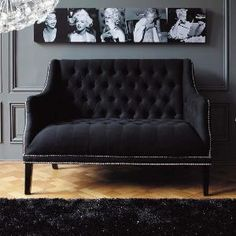 Daybed Black MARILYN - Sofas - Maisons du Monde  I like the idea of black and white pictures of the same theme, suspended closely together above a couch like this. The colors (or lack there-of) are great too.