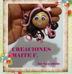 Broche fofucha pelo negro y rosa