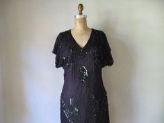 vintage 1980s retro 1920s dress / black silk crepe by SHESABETTIE, $98.00