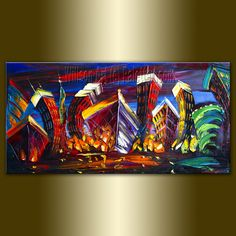 Original Cityscape Painting Oil on Canvas Palette by willsonart,