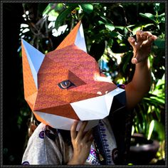 Fox Head Mask Papercraft Free Template Download