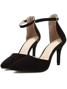 2a6870b37f46 Black Slingbacks High Heeled Pumps - Sheinside.com High Heels Stilettos