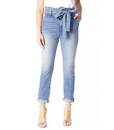 7 For All Mankind Paper Bag Waist Pant in Aura Blue