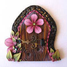 Flower Fairy Door Pixie Portal in Pink by Claybykim on Etsy