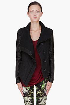 HELMUT LANG Black Leather Paneled Blitz Jacket