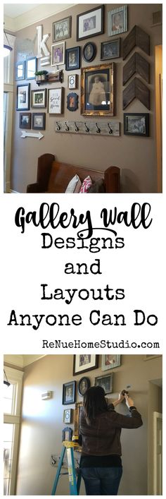 Gallery Wall Designs and Layouts Anyone Can Do. Tips and Tricks to laying out your #DIY #GalleryWall #HowTo How To Gallery Wall Ideas