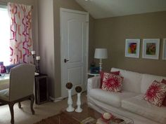 The stripes on the drapes really make this room and set the tone!
