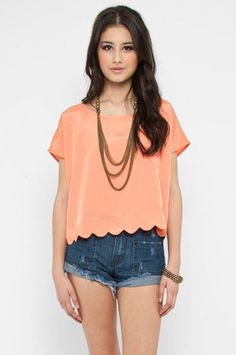 Buttoned Pocket Top in Tangerine $33 at www.tobi.com
