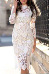 Stylish Women's Lace Cut Out Over Hip 3/4 Sleeve Pure Color Dress (WHITE,S) | Sammydress.com Mobile