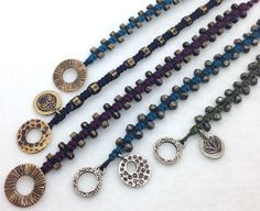 Design Ideas, macrame wristbands with our bronze beads, toggles, and charms- www.sakisilver.com