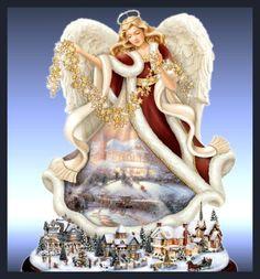 Thomas Kinkade Tabletop Angel Sculpture: Blessings Of The Season