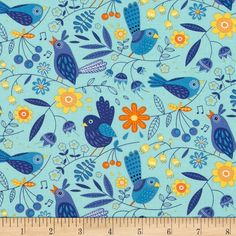 Moda On the Wing Song Birds Robins Egg Fabric