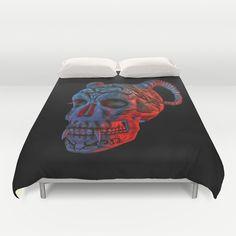 Skull with Horns Duvet Cover