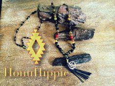 Boho Tassel necklace om symbol on long boho hippie by HonuHippie