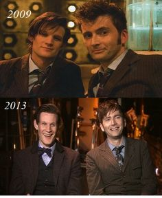Matt Smith and David Tennant - 2009 and 2013.  From The 14th Doctor's memories and the Tardis' databanks