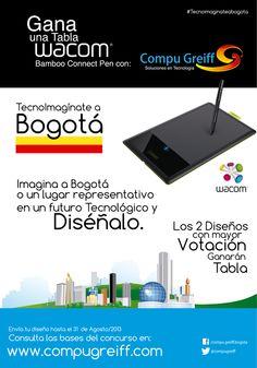 Gana una Tabla wacom Bamboo Connect Pen con Compugreiff Tecnoimagínate a Bogotá  Imagina a Bogotá o un lugar representativo en un futuro Tecnológico y Diséñalo.  Los dos diseños con mayor votación ganara tabla.  Revisa  las Bases y términos y condiciones  del concurso  en http://www.compugreiff.com/concurso.html  #TecnoimaginateaBogota