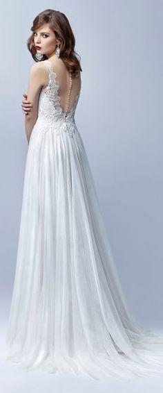 gefunden bei HAPPY BRAUTMODEN         Brautkleid Hochzeitskleid edel elegant romantisch Enzoani Blue Beautiful fließender Rock Spitze tiefer Rücken