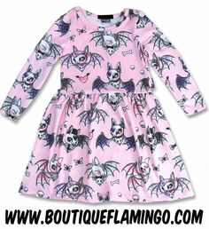 Long Sleeve Bat Toddler Dress by Six Bunnies- PINK - SALE only (Baby Shirts (Onesies)). Six Bunnies Bat Dress Dress Material: polyester, rayon High-grade fabric Stretchy Artist: Miss Cherry Martini Miss Cherry Martini has created another must-have Cute Bat, Pink Sale, Rocker Outfit, Baby Shirts, Toddler Dress, Kids Outfits, Bunny, Long Sleeve, Casual