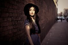 denim dress, black hat