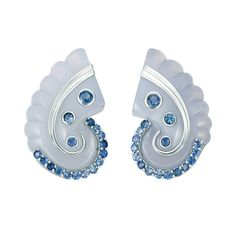 Pair of White Gold, Blue Chalcedony and Sapphire Earclips, Seaman Schepps