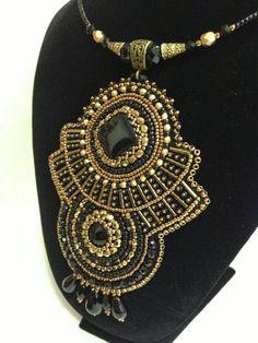 Bead Embroidery Pendant. Beaded necklace. Black-gold. Unique handmade jewelry.  OOAK. via Etsy