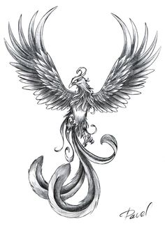 "Phoenix tattoo idea, maybe with inscription "" From the ashes, I will rise, twice as strong and much more wise"""