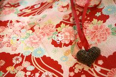 23R Flowers and Clouds Japanese FabricRed/Crepe by AtelierLiaSan, €4.50
