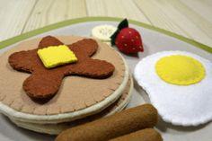 Felt Food Pancake Breakfast  Play Food Set  by FiddledeeDeeCraft, $40.00