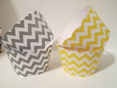 Set of 12 Grey and Yellow Chevron Cupcake by MoosesCreations, $5.75
