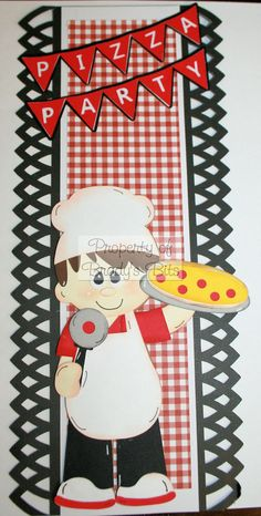 Pizza Party 12 x 5 Premade Scrapbook Border via Etsy