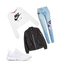 A fashion look from March 2017 featuring white crewneck sweatshirt, zipper bomber jacket and Kenzo. Browse and shop related looks. Kenzo, Crew Neck Sweatshirt, 50th, Bomber Jacket, Fashion Looks, Zipper, Nike, Sweatshirts, Polyvore