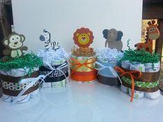 Set of five Small one layer Safari Jungle theme mini Diaper Cakes - Monkey, Zebra, Lion, Elephant, Giraffe-- Baby Shower gift /Centerpiece