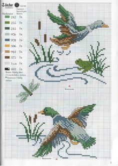 cross stitch pattern, çarpı işi, ördek, duck