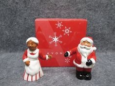 AVON Ceramic African American Santa & Mrs Claus Salt & Pepper Set NIB NEW IN BOX #Avon